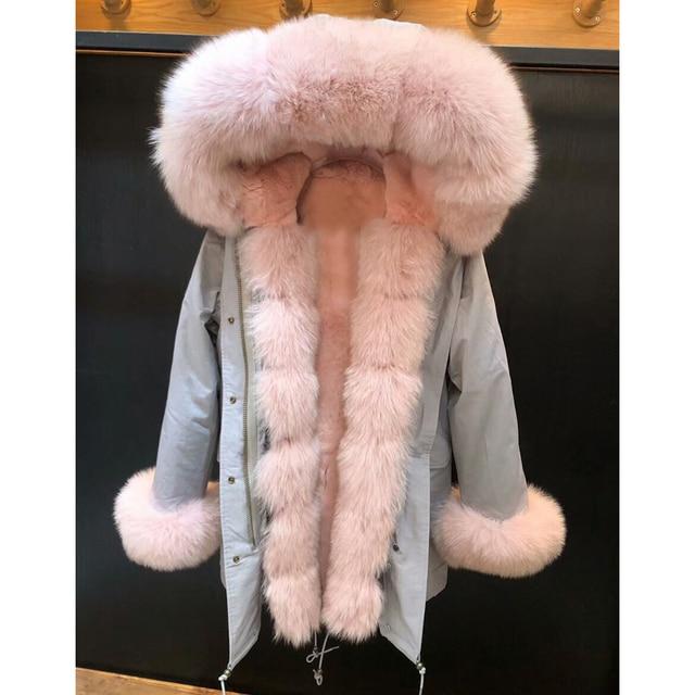 New 2018 Christmas Luxury Rose Red Fox Fur Fashion Natural Medium Long Fur Rabbit Lining Clothing Female Real Fox Fur Parkas