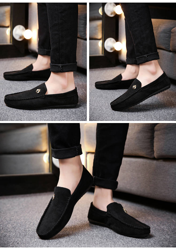 Juyouki Natural Cow Suede Bees Men's Casual Shoes Alligator Style Men Loafers Slip on Lazy Shoes Wiht Male Outdoor Shoes 17
