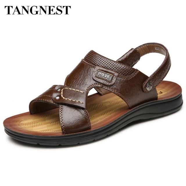 Tangnest Nuevo 2017 Hombres Slip-on Sandalias de Playa Sandalias de Gladiador de Moda Hombre Casual Plataforma Zapatillas Hombre Zapatos de Verano Suave XMT216