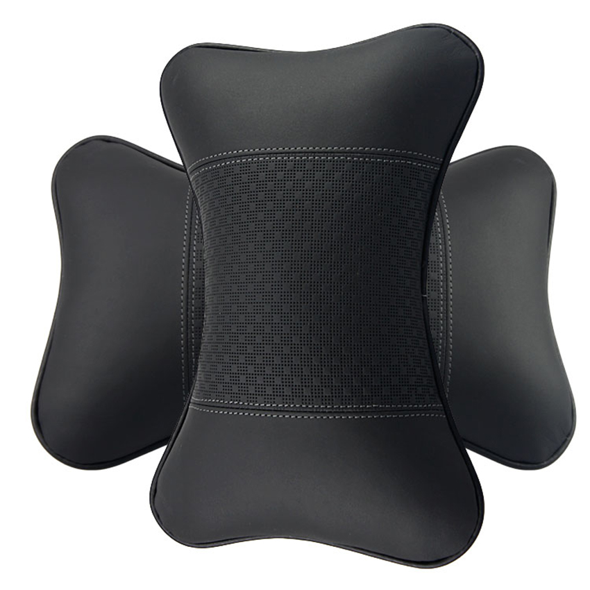 car neck support pillows auto interior pillow headrest genuine leather head rest pillow black. Black Bedroom Furniture Sets. Home Design Ideas