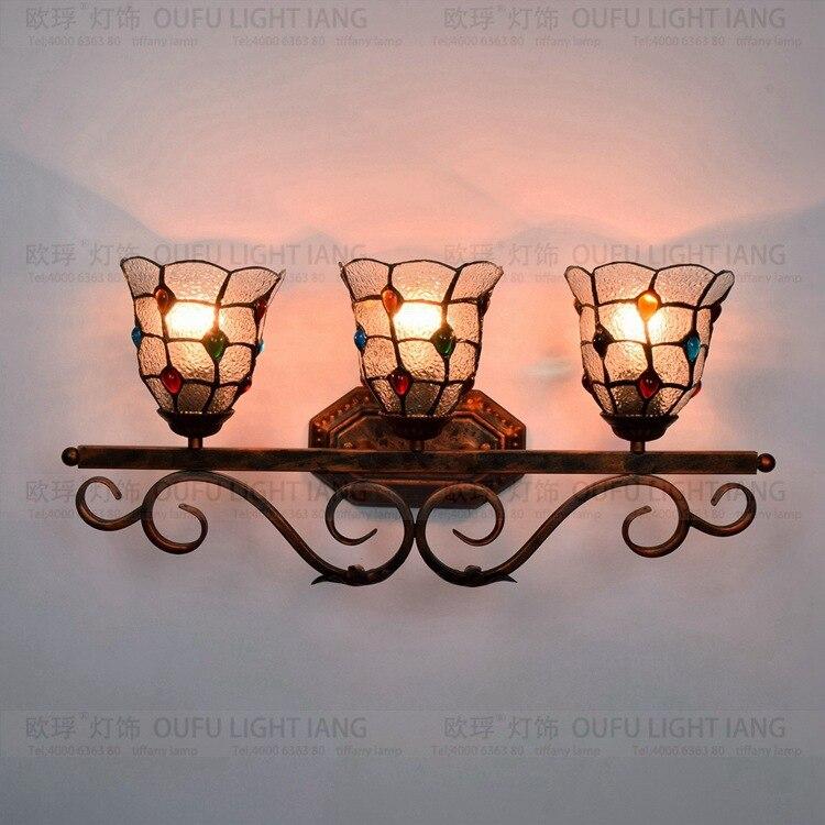 Европейское Ретро художественное стекло Три головки железная настенная лампа бар ресторан клуб витражная стеклянная лампа туалетное зерк