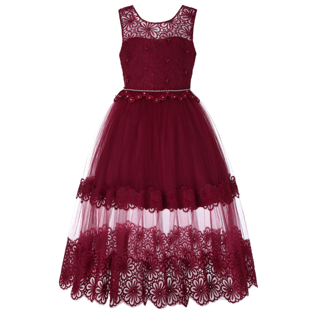 Flower Girl Long Lace Dress Christmas Party Kids Party Dresses For Girl  Frocks Children s Costume Teenage Girl Ceremony c8fe4dc0afc1