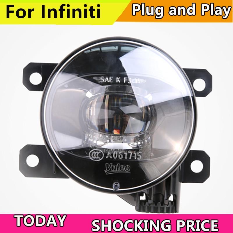 Car Styling FOR VALEO LED LIGHT for Infiniti QX30 QX50 QX56 QX60 QX70 QX80 LED Fog Light Auto Fog Lamp car styling halogen fog lights fog lamps for infiniti qx60 2014 2015 12v 1 set