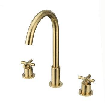 Кран для раковины с двумя ручками и тремя отверстиями, матовый золотой латунный кран для раковины для ванной комнаты, смеситель для горячей