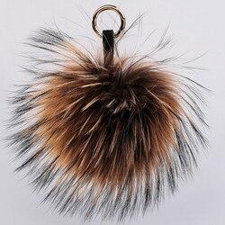 De lujo de 15 cm de peluche de piel de mapache pelota Real de piel de cadenas de llavero Pompom Pompon llavero encanto de las mujeres colgante