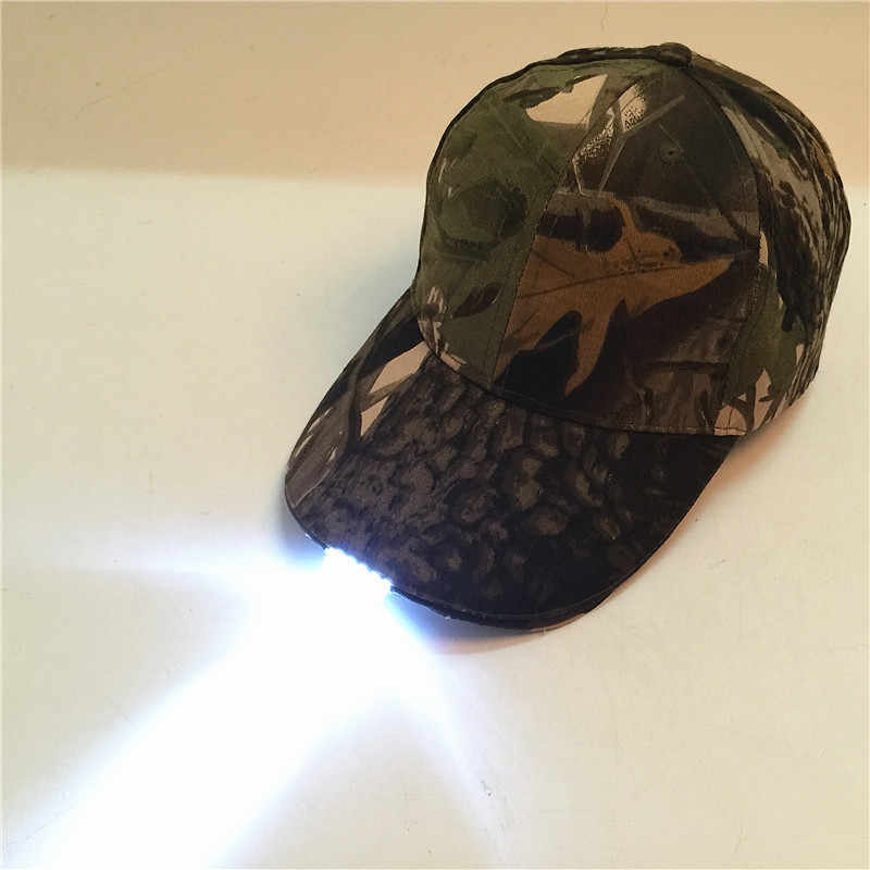 Camouflage Hip Hop Hat LED Lamp Caps Autumn And Winter Go Fishing Hat Outdoors Lighting Mountaineering Duck Tongue Baseball Cap