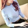 2016 Плюс размер 3XL 4XL Рабочая Одежда Формальные Блузки Женщины элегантный Рубашка Дамы Женская Верхняя одежда Сплошной Цвет Офисные Рубашки С Длинным рукава