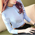 2016 Plus Size 3XL 4XL Blusas Formais Das Mulheres do Desgaste do Trabalho Camisa elegante Das Mulheres Das Senhoras Tops Escritório Cor Sólida Camisas Longas manga