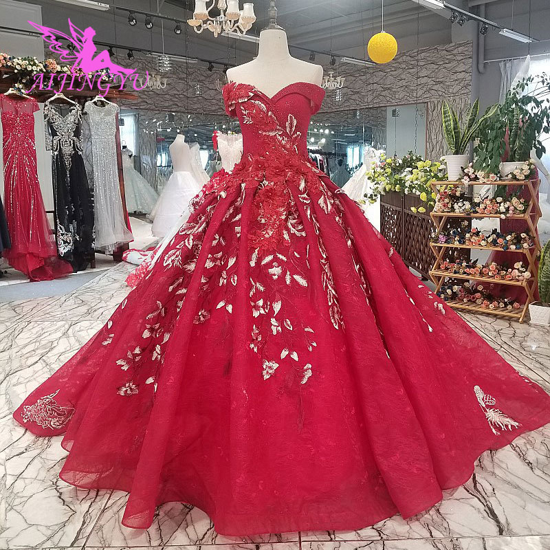 AIJINGYU Wedding Bride Lace Gown Special Floral Sexy Princess Luxury Gowns And Prices Pre Wedding Dress