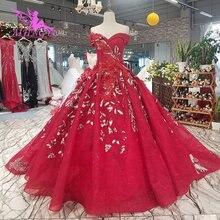 AIJINGYU فستان زفاف العروس الدانتيل خاص الأزهار مثير الأميرة فساتين فاخرة والأسعار قبل فستان الزفاف