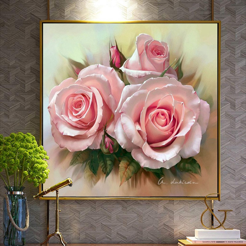 Meian,Embroidery,DIY Pink Flowers Painting,Full Needlework,Cross stitch,kits,14CT Cross-stitch,Embroidery Sets,50x50 cm, VS-16