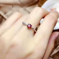 shilovem Natural New Burning Pigeon Blood Ruby Gemstone Rings for Women Real 925 Sterling Silver new gift 4*4mm mj0404822agh