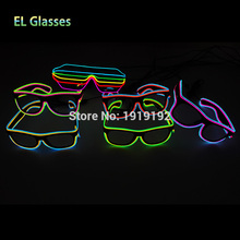 Double Colorful El Wire Neon LED Light Up Shutter new arrival Glow Glasses Rave Costume Party DJ Bright SunGlasses