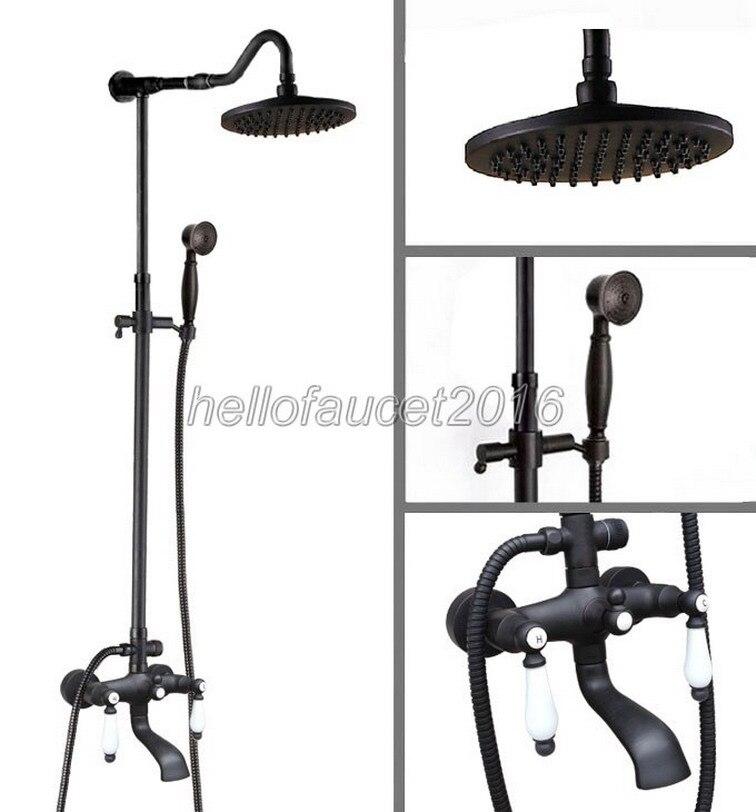 Luxury Bathroom Rain Shower Faucet Set Black Oil Antique Brass Wall Mounted Dual Ceramic Handle Bath Tub Mixer Taps lhg645