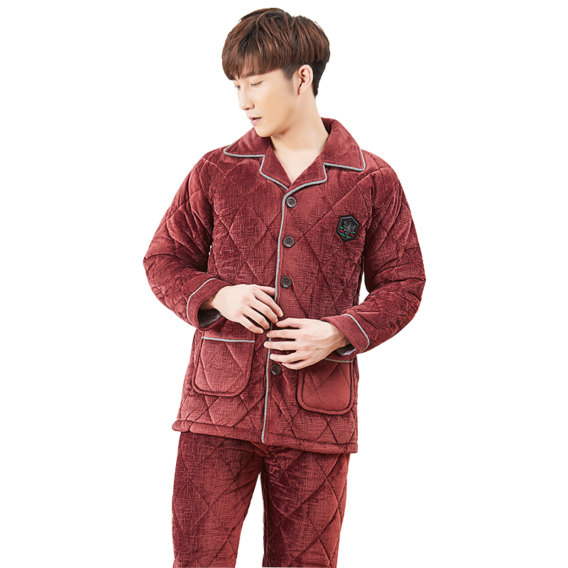 Winter Thick Coral Fleece Men Pajamas Sets Of Sleep Tops & Bottoms Male Flannel Warm Sleepwear Thermal Home Clothing L-XXXL