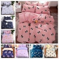 Dog Cat Animal Pattern Duvet Cover Sheet Pillow Case 3/4 pcs Bedding Set Cotton Bed Linen Kids Comforter Quilt Single Queen Size