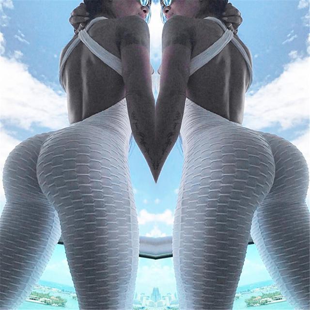 2018 Brand New Women Sexy Backless Yoga Fitness Pants High Elastic Leggings Hip-flattering Running Pleated Yoga Jumpsuits