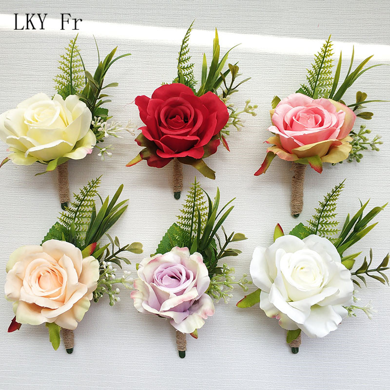 LKY Fr Boutonniere Flowers Corsage Pin Boutonniere Buttonhole Men Wedding Bracelet Bridesmaid Wedding Buttonhole Witness Corsage