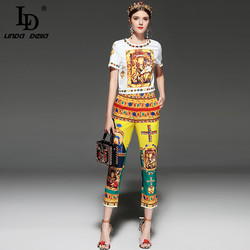 LD LINDA DELLA Fashion Runway Designer Suit Set Women's Short Sleeve Retro Pattern Print Pullover Top Pants Set 2 Piece Sets