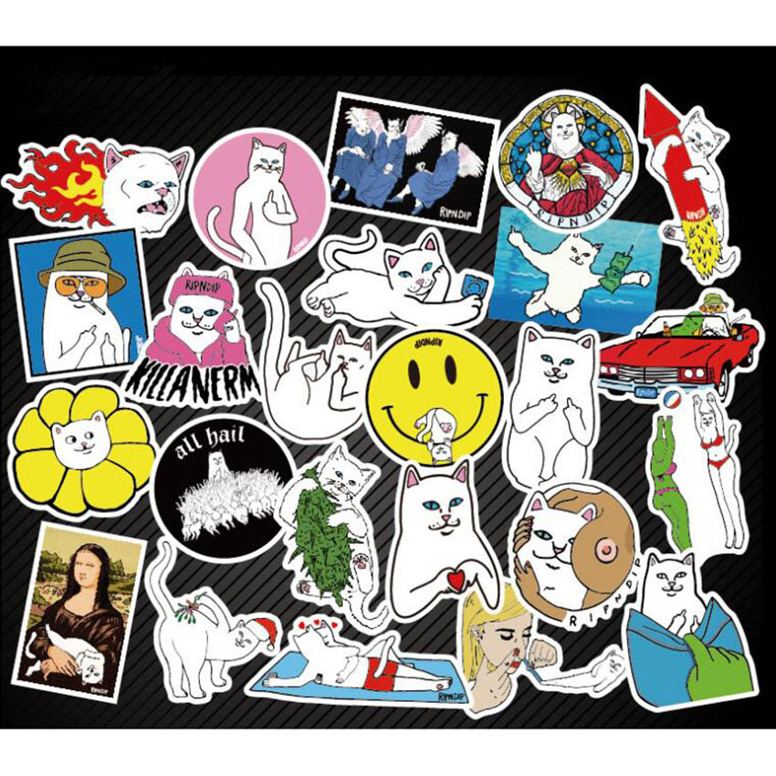 Car styling 50pcs Middle Finger Cat PVC Waterproof Stickers Doodle Decals Sticker for Snowboard Luggage Car Laptop