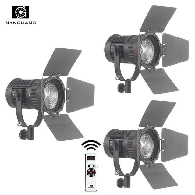 3 x CN-30F 30W LED Fresnel Spotlight LED Filming Lighting Kit  with Remote Control+Light Bag