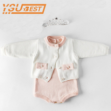Baby Girl Romper Newborn Baby Rompers Knitted Baby Clothes 2019 Spring Baby Girls Clothes 100 Cotton Princess Girls Jumpsuit cheap 86006 Single Breasted Full Unisex Fits true to size take your normal size O-Neck campure Solid Brand 66 73 80 90 100 More C