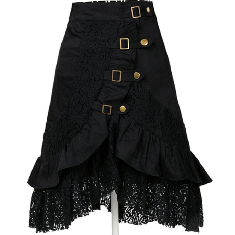 Women Steampunk Victorian Gothic Skirt Black Lace Ruffles Skirts Button Punk Party Skirts Medieval Renaissance High Low Skirts