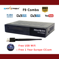 Fraskoo F9 COMBO with Free CCcam DVB T2 S2 digital Satellite Receiver Full HD 1080p free USB wifi H.265 support Youtube Cccams