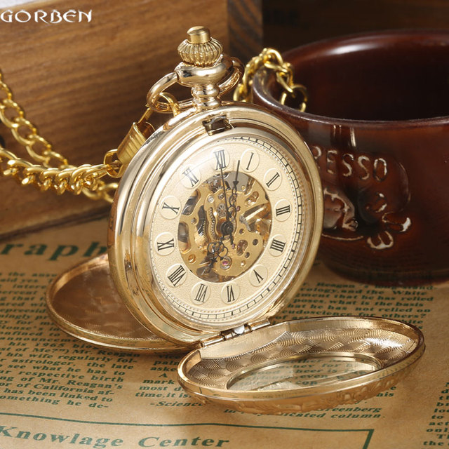 Roman Numerals Skeleton Steampunk Golden Pocket Watch With Chain 2 Sides Open Ca