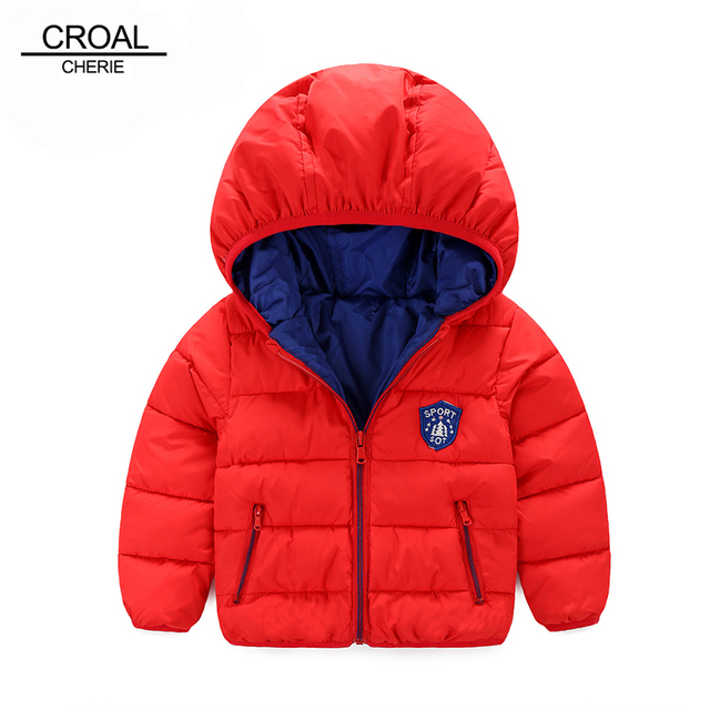 80-120cm Winter Boys Outerwear Solid Cotton Girl Coat Newborn Baby Snowsuit Infant Overcoat Children Winter-Clothing Kids Jacket