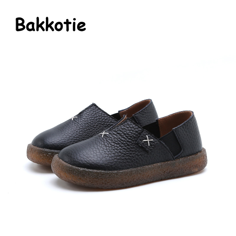 Bakkotie 2017 New Autumn Fashion Baby Girl Shoe Kid Brand Silp On Child Flats Genuine Leather Black Soft Sole Beige Toddler Boy