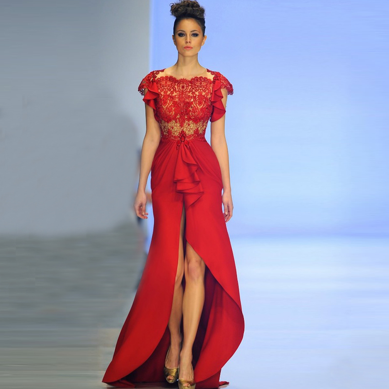 2014 Fall Winter New Collection High Low Sheer Red Evening Dress