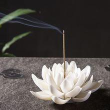 Керамическая белая горелка для благовоний в виде лотоса домашний декор подставка для ароматических палочек буддийская благовония для ароматерапии курильница для использования в офисе Teaho