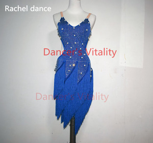 Image 4 - 레이디 성능 라틴 댄스 의류 수석 여성 돌 술 술 라틴 댄스 드레스 여자 라틴 댄스 쇼 라틴 댄스 드레스