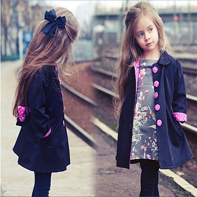 116d20445 Comercio exterior 2018 primavera y otoño las niñas de algodón de moda largo  Casual gabardina chaqueta
