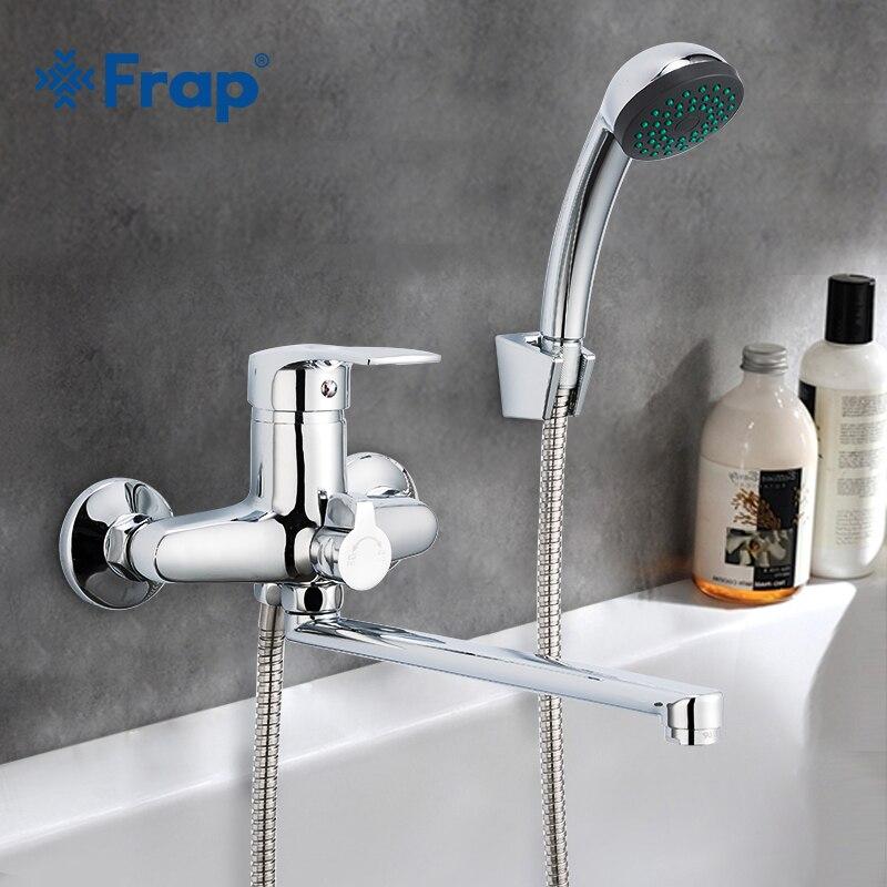 Frap 1set 30cm Silver Outlet Pipe Bath Shower Faucet Set Brass Body Shower Head Bathroom Tap Chrome Bathtub Faucet F22701-B(China)