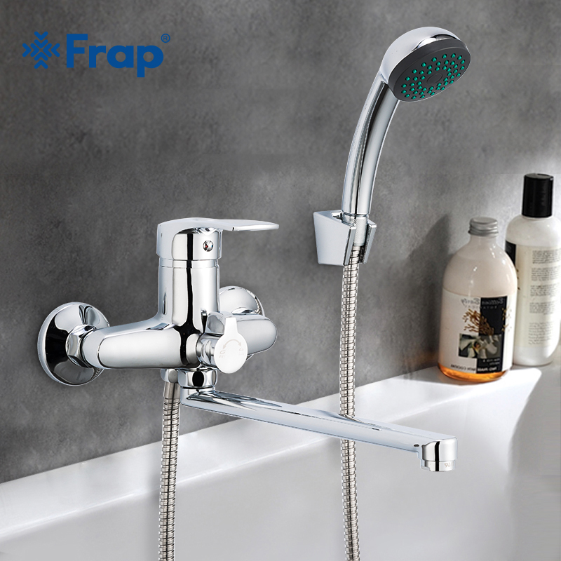 Frap 1set 30cm Silver Outlet Pipe Bath Shower Faucet Set Zinc Alloy Body Shower Head Bathroom Tap Chrome Bathtub Faucet F22701-B