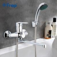 Frap 1set 30cm silver Outlet pipe Bath shower faucet set Brass body shower head bathroom tap chrome bathtub faucet F22701 B