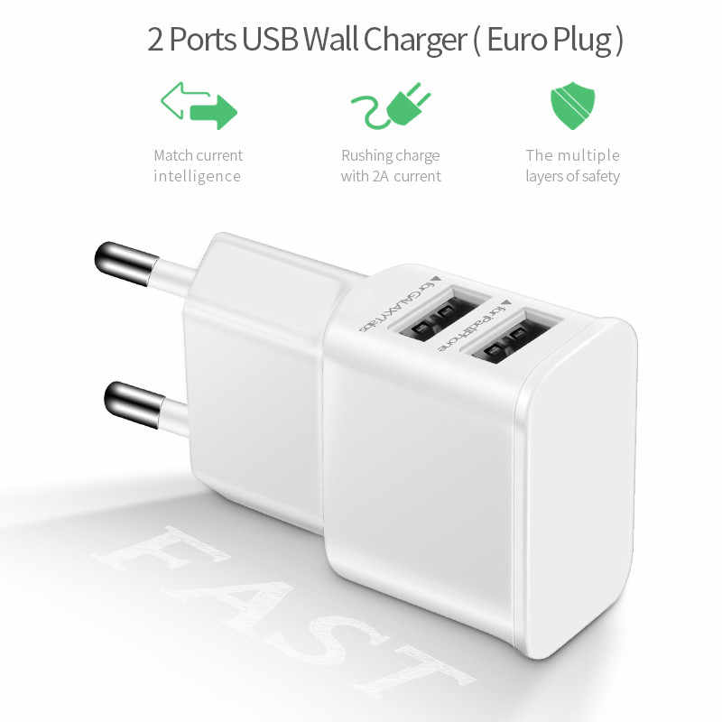 5v 2a Phone Charger Adapter Wall Travel 2 port dual Usb Cabel type c For samsung galaxy s8 note 8/xiaomi mi5 mi6/huawei mate 10