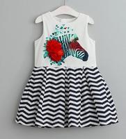 Sleeveless Floral Striped Baby Appliques Clothes Horse Print Lolita Girls Dress Children O Neck Spring Autumn