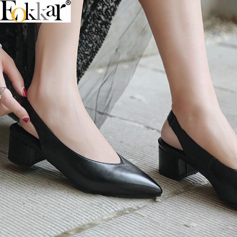 Eokkar 2019 bout pointu femmes chaussures mode escarpins décontractés à lacets talons bas en cuir de vache PU Sexy dames Mules grande taille noir 34-42