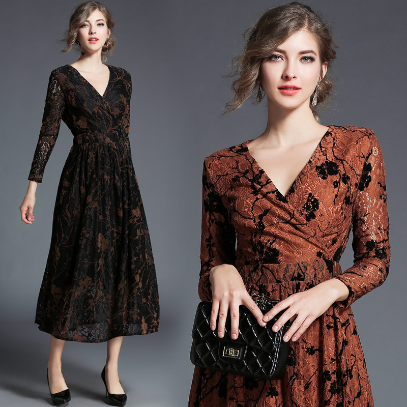 New women sexy v neck Europe print dress lace dresses european fashion vestidos party clothes lady outfit long sleeve S XXL