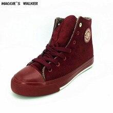 Maggie Walker Mode Frauen Winter Freizeitschuhe High Top Plateauschuhe Warme Außen Leinwand Schuhe Lace-up Schuhe größe 35 ~ 40