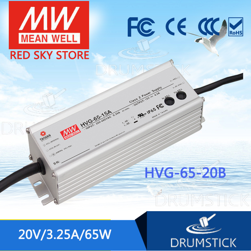 цена на MEAN WELL HVG-65-20B 20V 3.25A meanwell HVG-65 20V 65W Single Output LED Driver Power Supply B type
