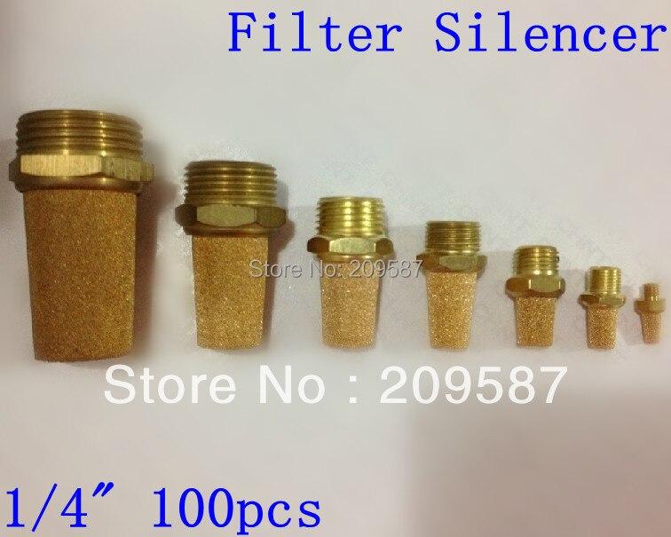 100pcs Sintered Bronze Pneumatic 1 4 PT Male Thread Exhaust Silencer Muffler