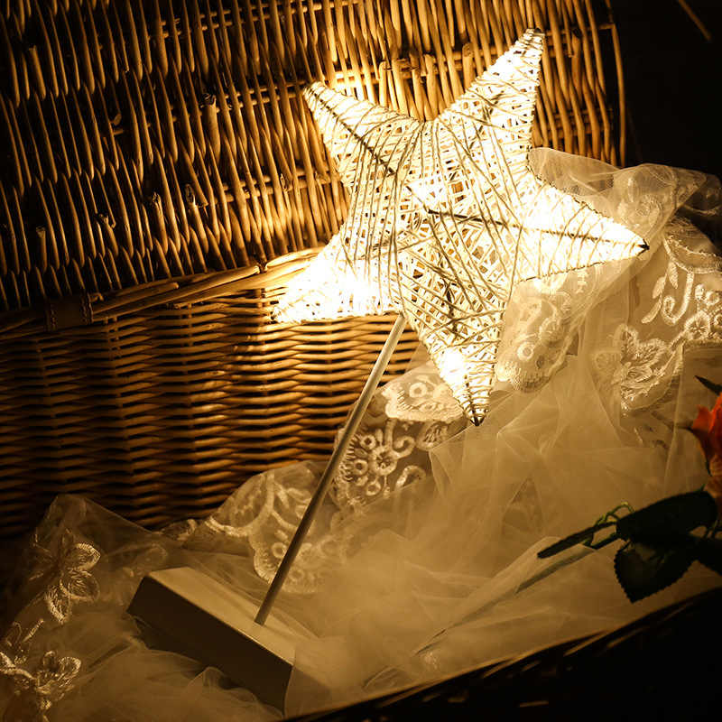 Новые 40 см Star шампуня, крема, лосьона ночник ротанг травы тканые Батарея Мощность девочек Спальня декоративные настольные лампы Малыш игрушка в подарок