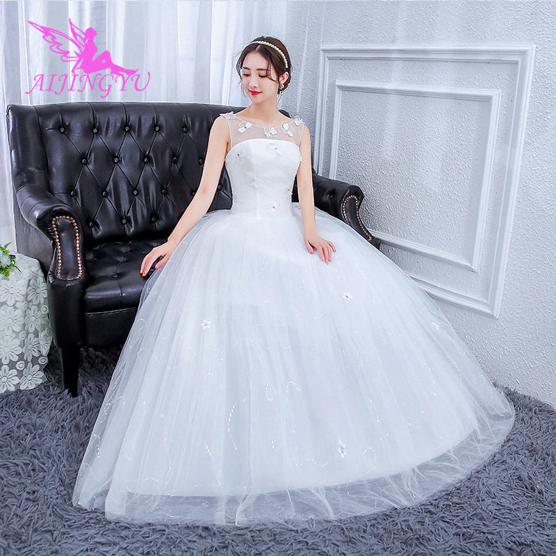 AIJINGYU 2018 V-neck Free Shipping New Hot Selling Cheap Ball Gown Lace Up Back Formal Bride Dresses Wedding Dress FU205