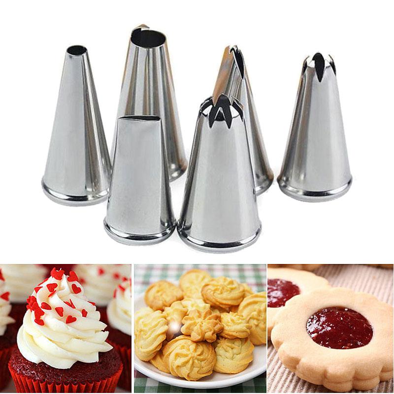 6 Stücke Dekorieren Spitze Sets Edelstahl Cupcake Kuchen Creme Tipps - Küche, Essen und Bar