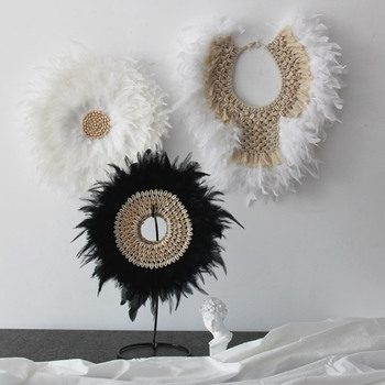 Free Shipping(1pcs/lot)Handmade Customized Shell&Feather Hanging Crafts Natural Shell Beach Wedding Decor Sofa Background