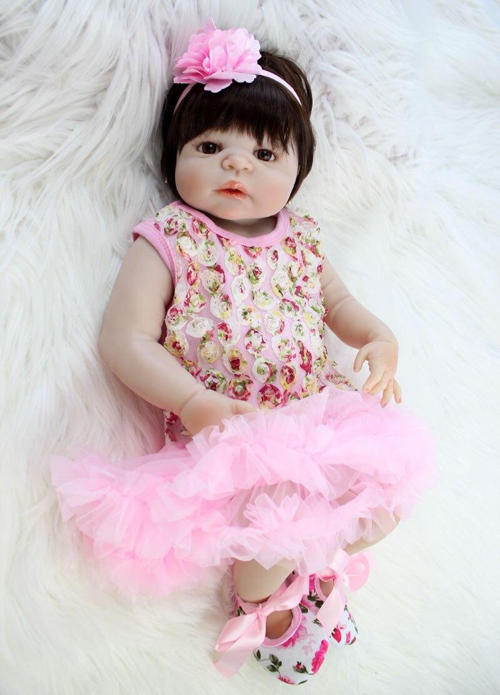 "Здесь продается  NPKCOLLECTION 22"" Full Body Silicone Newborn Doll Princess Realistic Reborn Baby Girl Alive Bebe Boneca Toy Waterproof Dolls  Игрушки и Хобби"